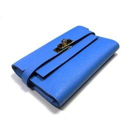 Hermès-Portefeuille Kelly compact-Bleu