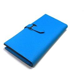Hermès-Portefeuille Béarn soufflet-Bleu