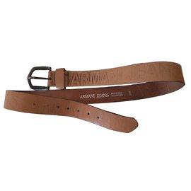 Armani Jeans-Ceinture cuir-Marron