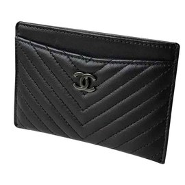 Chanel-SO BLACK card holder-Black
