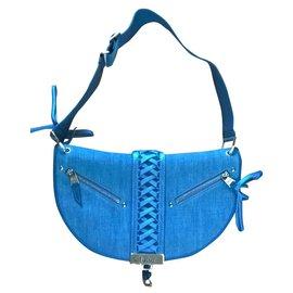 Dior-Très joli sac demi-lune-Bleu