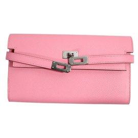 Hermès-Kelly long wallet classique-Rose
