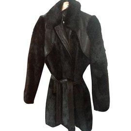 Bel Air-Manteau fourrure-Noir