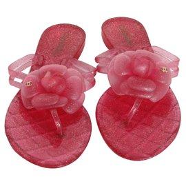 Chanel-Camillia flip flops-Pink