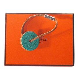 Hermès-Porte clés Token-Bleu