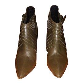 Hermès-Ankle Boots-Khaki