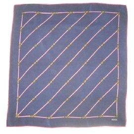 Gucci-Vintage foulard soie-Bleu,Gris,Bordeaux