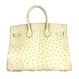 Hermès-Birkin 35 Ostrich Parchemin-Beige