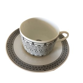 Hermès-Teacup and Saucer-Black,White