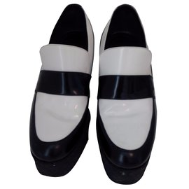 Céline-Wedge Loafers-Black,White