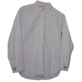 Céline-Refined white shirt with golden cufflinks-White