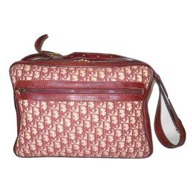 Christian Dior-Vintage reporter bag-Beige,Dark red