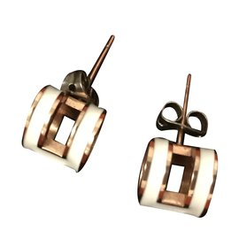 Hermès-Earrings-White,Golden