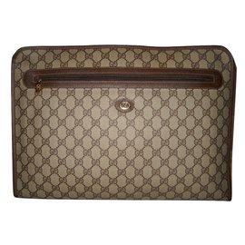 Gucci-GUCCI vintage portedocument toile enduite et cuir-Marron,blanc cassé