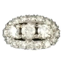 Autre Marque-Bague or blanc et diamants-Blanc