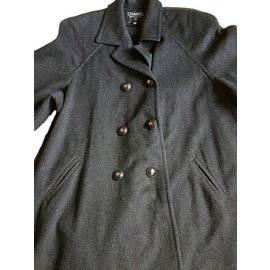 Chanel-Manteau-Gris anthracite