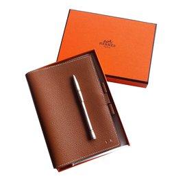 Hermès-Porte agenda cuir-Caramel