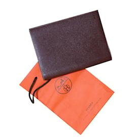 Hermès-Porte Agenda et Bloc-Note.-Marron