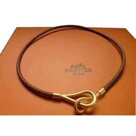 Hermès-Collier cuir HERMES modèle jumbo plaqué or-Caramel