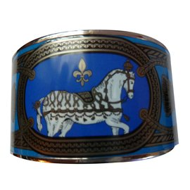 Hermès-Bracelet neuf HERMES en émail modèle Grand Apparat platine et bleu taille XL (70 mm intérieur)-Bleu