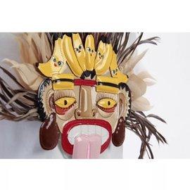 Dsquared2-3d tribal mask tshirt-Blanc