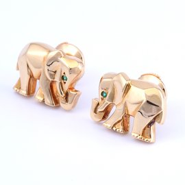 Cartier-18K Gold and Emerald Elephant Stud Earrings-Golden