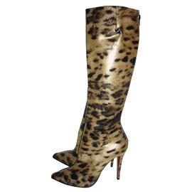 Christian Louboutin-Bottes en cuir vernis imprimées léopard-Imprimé léopard