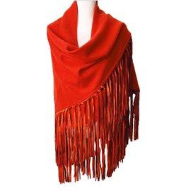 Hermès-Foulard cachemire avec franges en cuir d'agneau-Orange