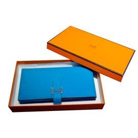 Hermès-Portefeuille Bearn-Bleu