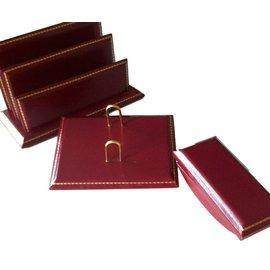 Lancel-Garniture de bureau en cuir bordeaux clair-Bordeaux