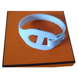 Hermès-Bracelet cuir-Blanc