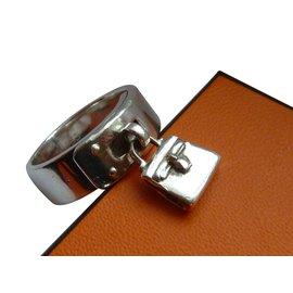 Hermès-Bague hermes argent 925 avec sac-Argenté