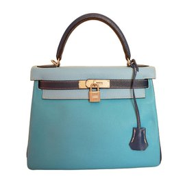 Hermès-Kelly 28 bag in 3 colors-Blue