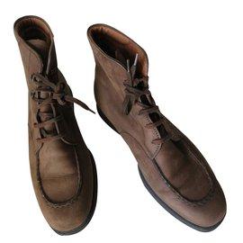 Tod's-Boots plates en cuir-Marron