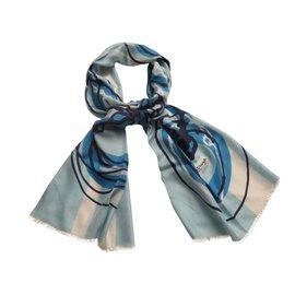 Balenciaga-Etole en soie-Bleu