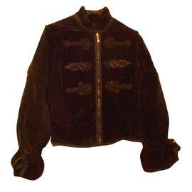Louis Vuitton-blouson velours noir garnissage plume d'oie ganse de soie-Noir