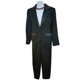 Yves Saint Laurent-Tailleur pantalon-Noir