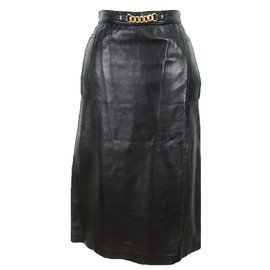 Céline-Lambskin Leather Skirt-Black