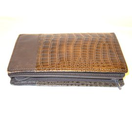 Gianni Versace-Vintage portefeuille imprimé croco-Marron