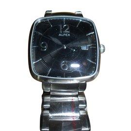 Autre Marque-Alfex men's design black dial new wristwatch-Silvery