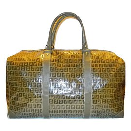 Fendi-FENDI  vintage sac de voyage tissu Zucchino beige-Marron,Beige
