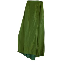 Chanel-Chanel Pleated High Slit  Cut out Bodice Long Skirt-Green