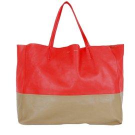 Céline-Celine tote handbag-Red,Caramel