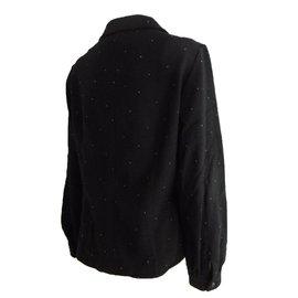 Chloé-Studded Long Sleeve Blouse-Black