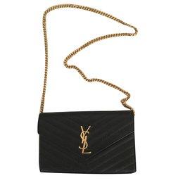 Yves Saint Laurent-Sac monogramme en cuir texturé grain de poudre matelassé noir avec chaîne-Noir