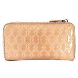 Fendi-Brieftasche aus Leder mit rundem Reißverschluss-Beige