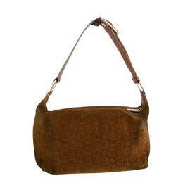 Céline-Leather Suede Monogram Logo Shoulder Bag-Brown