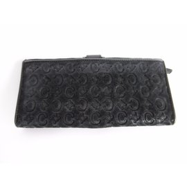 Céline-Celine Leather Suede Monogram Long Wallet-Black