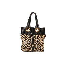 Yves Saint Laurent-Sac shopping yves saint laurent en toile leopard et noir-Noir,Imprimé léopard