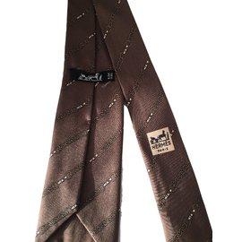 Hermès-Cravate-Marron